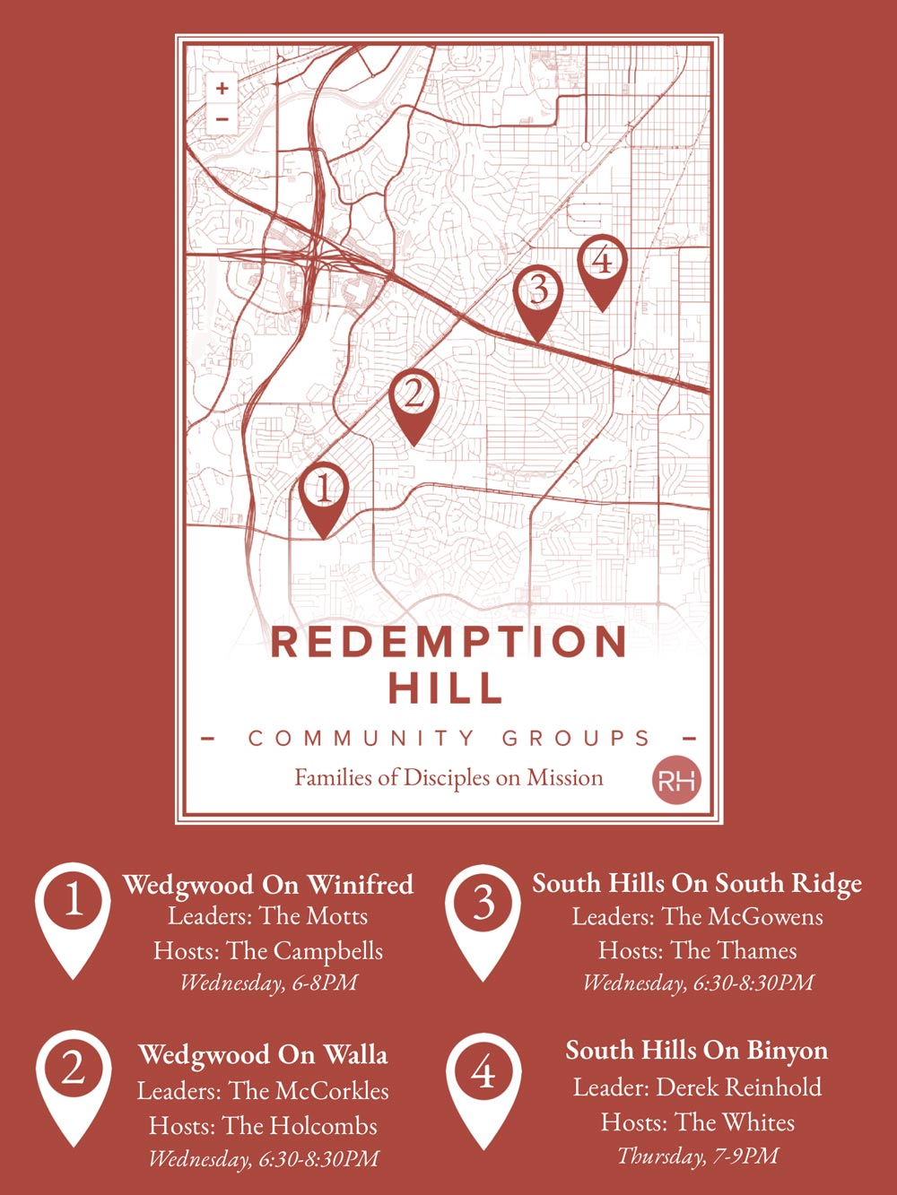Redemption Hill Church Community Group Map